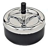 SODIAL Cendrier acigarette de poussoir rond avec plateau rotatif, noir
