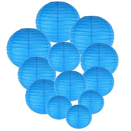 Sinwind Laterne, 12 Stück Papier Laterne Lampions rund Lampenschirm Hochtzeit Dekoration Papierlaterne (Blau)