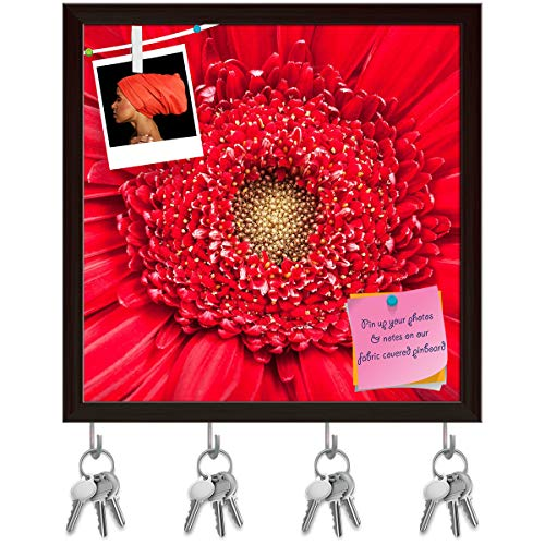 ArtzFolio Yellow Center of Red Gerbera Bloom Close Up Key Holder Hooks | Notice Pin Board | Dark Brown Frame 20 X 20Inch