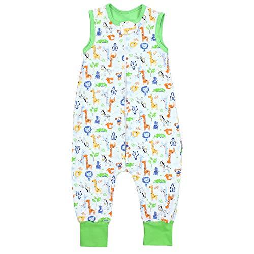 TupTam Unisex Babyschlafsack mit Beinen Unwattiert, Farbe: Safari Grün, Größe: 92-98