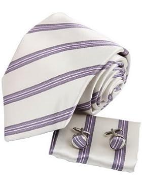 YAC2A02 raya de la manera del regalo de cumplea?os corbata de seda Gemelos pa?uelo Set 3PT por Y&G