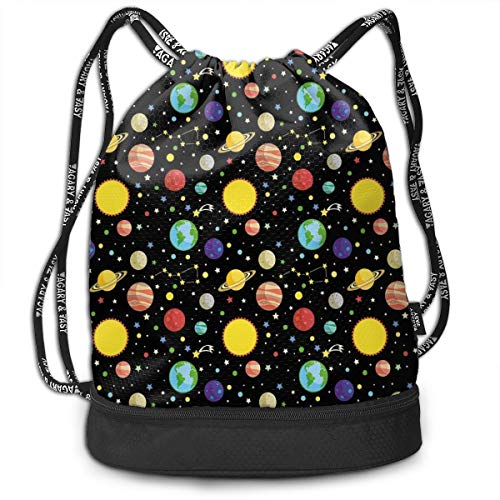 Earth-dots (Hmihilu Drawstring Backpacks Daypack Bags,Comets and Constellations Stars with Polka Dots Earth Sun Saturn Mars Solar System,Adjustable String Closure)