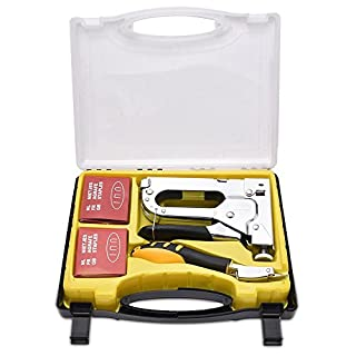 WOLFWILL Heavy Duty Staple Gun Kit - Including Nail Remover and 3 Types Nail Set