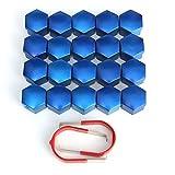 Pinkdose® 17mm Auto Alufelgen Trims Mutter ABS Kunststoff Blau Caps Schrauben Abdeckungen Muttern Set von 20