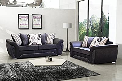 Las Vegas Black and Grey Fabric/Leather Sofa Settee Couch 3+2 Seater FREE DELIVERY TO ENGLAND AND WALES ONLY by Furnitureinstore