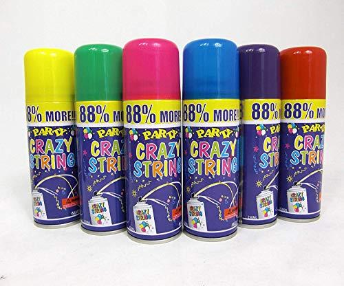 GYD 6 Stück Party Luftschlangen Spray Karneval Geburtstag Hochzeit feiern Dekorieren versch. Farbe Schlangenspray Sprühschlangen