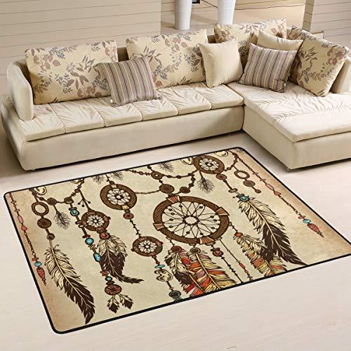 JSTEL - Alfombra para salón (90 x 60 cm, Lavable), diseño de atrapasueños, Color Beige, 180 x 120 cm