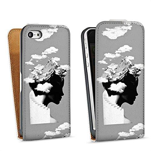 Apple iPhone 5s Housse Étui Protection Coque Silhouette Tête Nuages Sac Downflip blanc