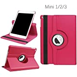 IPad Mini Case, KolorFish [iRotation] 360 Degree Rotation [Auto Wake/Sleep] Smart Stand PU Leather Case Cover For Apple IPad Mini, Mini 2, Mini 3 (Hot Pink)