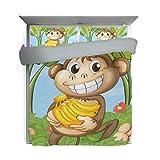 Bennifiry Bettbezug für Kinder, freche AFFE, 3-teiliges Set, waschbare Baumwolle, Rückseite grau, für Kindergeschenk (1 Bettdeckenbezug, 2 Kissenbezüge)