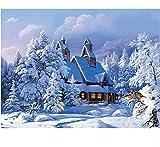 Schnee Haus Acrylbild DIY Malen Nach Zahlen Handgemaltes Ölgemälde Auf Leinwand Für Dekoration 40x50cm