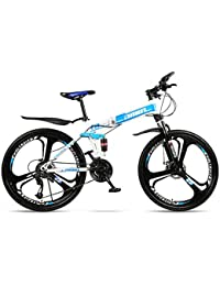 MoMi Bicicleta de montaña Plegable Bicicleta 21/24/27/30 Velocidad 24/26 Pulgadas Rueda Todo en uno Doble Amortiguador Carreras Off-Road Shift Bicicleta Masculina y Femenina rápida