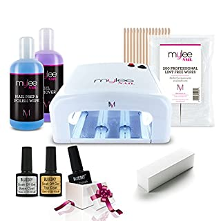 MYLEE 9pc Starter Kit KIT UV 36W Nail Curing Lamp with BLUESKY Top & Base Coat, Mylee Prep+Wipe & Remover 250ml, 1 x Bluesky Gel Polish of a Mystery Colour, Lint-Free Wipes & More