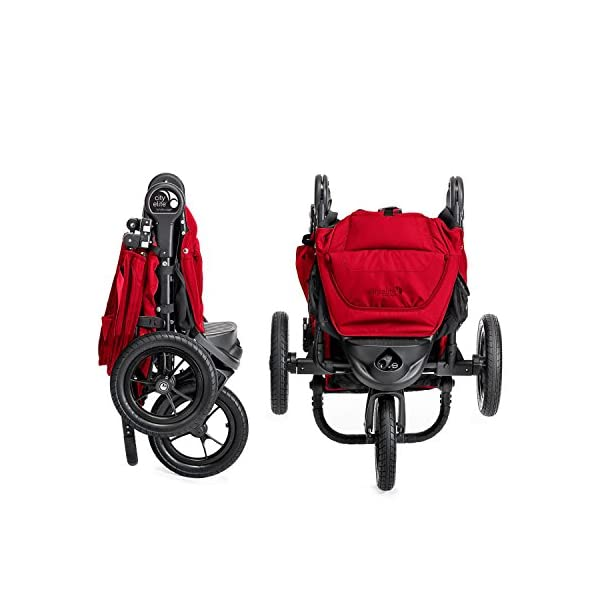 Baby Jogger City Elite Single Stroller Red  Lift one strap and the City Elite folds itself: Simply and compactly, it really is as easy as it sounds and the auto-lock will lock the pushchair for transportation or storage The City Elite offers an array of storage, including a built-in parent console that keeps your most used items at your fingertips, an adjustable handlebar and a hand-operated parking brake keeps all the controls within reach Suitable from birth, the seat reclines to a near flat position with vents and a retractable weather cover plus SPF 50+ hood throws a lot of shade on a sunny day and has a peek-a-boo window with magnetic closure so you can quietly check on your little one 5