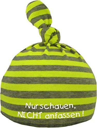 KLEINER FRATZ Baby Mütze bedruckt mit NUR SCHAUEN - NICHT ANFASSEN (Farbe neongelb/grau) (Gr. 12-36 Monate)