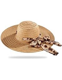 Kamiwwso Cappello di Paglia con Nastro a Nastro e Nastro per Cappello di  Paglia a Tesa 173b10f09e3f