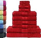 GREEN MARK Textilien 10 TLG. FROTTIER Handtuch-Set mit verschiedenen Größen 4X Handtücher, 2X Duschtücher, 2X Gästetücher, 2X Waschhandschuhe | Farbe: Bordeaux rot | Premium Qualität