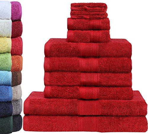 GREEN MARK Textilien 10 TLG. FROTTIER Handtuch-Set mit verschiedenen Größen 4X Handtücher, 2X Duschtücher, 2X Gästetücher, 2X Waschhandschuhe   Farbe: Bordeaux rot   Premium Qualität