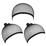 eBoot Wig Caps Elastic Hair Mesh Net Open End, Black, 3 Pack