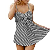 QUINTRA Damenmode Plus Size Badeanzug Muster Vintage Badeanzug gestreift Tankinis Bademode gedruckt