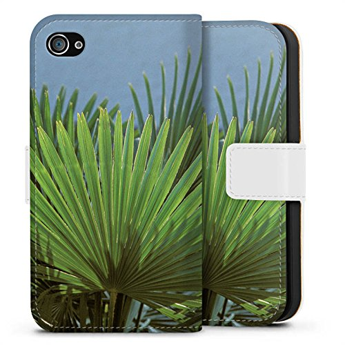 Apple iPhone X Silikon Hülle Case Schutzhülle Palme Blatt Palmenwedel Sideflip Tasche weiß