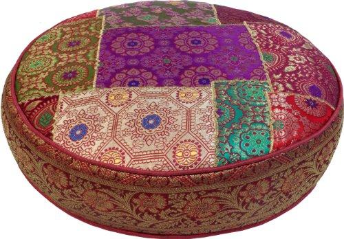 Orientalisches Rundes Patchwork Kissen 50 cm, Sitzkissen, Bodenkissen mit Baumwollfüllung / Boden, Stuhl & Sitzkissen