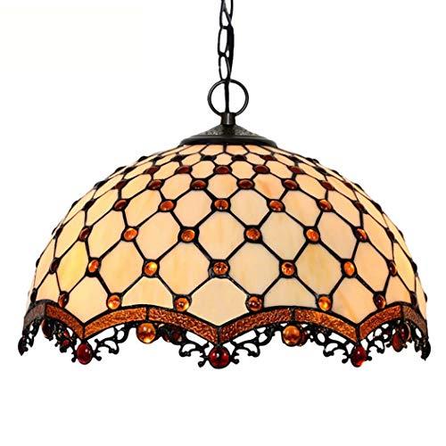 YDYG Candelabro de Estilo Tiffany, Accesorio de lámpara Colgante de Techo de 2 Luces Victoriana, Pantalla de 16 Pulgadas, Cortina de Cuentas de Corte Sala de Estar Dormitorio