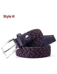 Diseño italiano Para hombre Cuero trenzado Elástico Estiramiento Hebilla  cruzada Cinturón de golf informal Cintura de fa5ae329e233