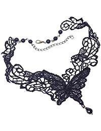 Gudeke Mariposa Negro de la Cadena del Cordón del Collar Colgante de Collar de Perlas Cadena de Estrangulamiento para la Mujer