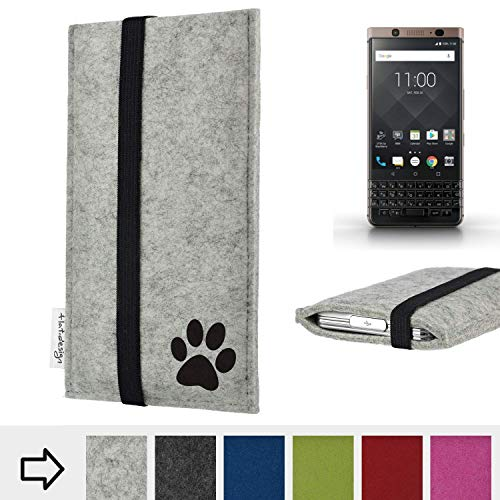 flat.design Handy Hülle Coimbra für BlackBerry KEYone Bronze Edition individualsierbare Handytasche Filz Tasche fair Hund Pfote tatze