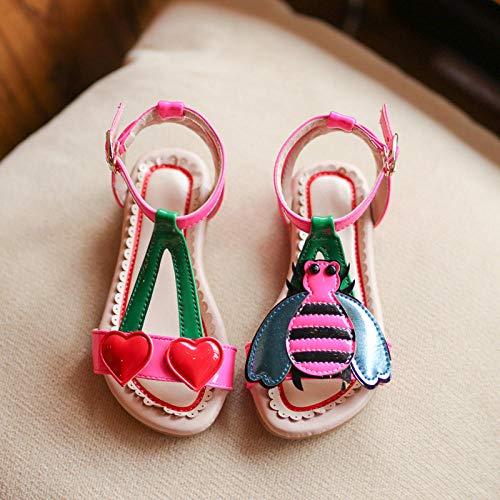 Infradito Tacco,Scarpe da principessa per bambini estive.Scarpe da spiaggia a forma di ape in ciliegio con velcro d'amore,scarpe per bambina di 1-9 anni,Pink,14.5cm,Sandali infradito,Il miglior r