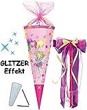 alles-meine.de GmbH mit 3-D Glitzer Effekt ! - Schultüte -  Prinzessin Lillifee  - 85 cm - 12 eckig - incl. große Schleife - Organza Abschluß - Zuckertüte - Nestler - mit / OHN..