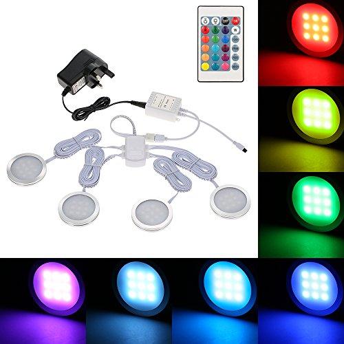 Docooler LED Schranklicht-Kit, RGB, puckförmig, mehrfarbig, mit Dimmer, für Küche, Display, Schrank, Bücherregal Stil 3 (Bücherregal Kit)