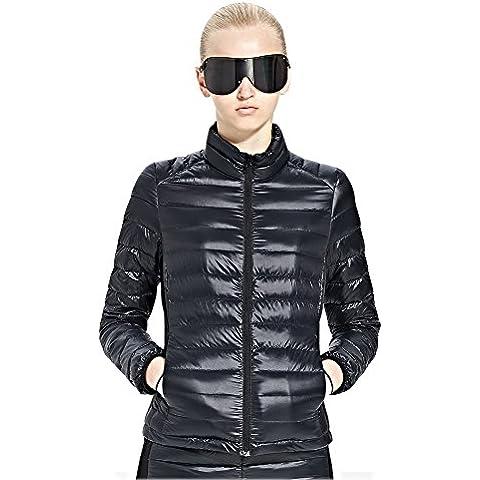 Skywards Chaqueta de mujer Compresible Ligero Chaqueta de pluma Acolchado de invierno Puffer Jacket Coat ropa de abrigo chaqueta abajo (Negro, L)