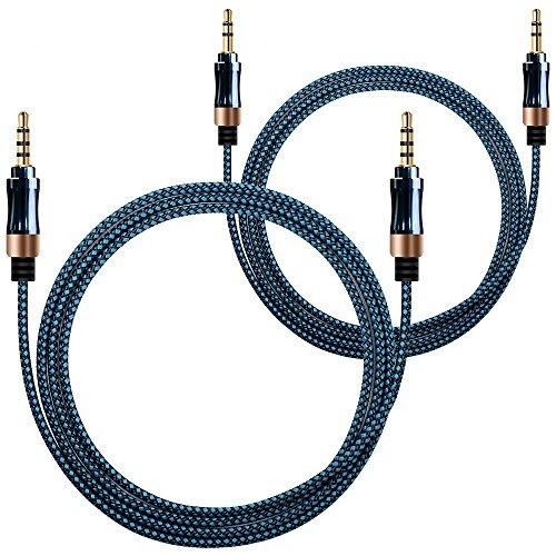 AFUNTA AUX Cable, 3 pin (3,3 pies/1M) + 4 pines (4 pies/1,5 m) de 3,5 mm Macho a macho de Coches y Home Estéreo de tela con Camisa Enreda Cable de Audio Auxiliar para PC y Dispositivos Móviles