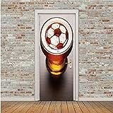 Haipeiy Türaufkleber Fußball Tür Aufkleber Fußball Player Tapete PVC Poster Aufkleber Sport Dekoration Wandbild Jungen Kinderzimmer Wohnkultur 77X200 cm