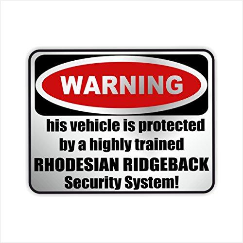 Siviwonder Auto Aufkleber RHODESIAN RIDGEBACK WARNING ALARMANLAGE Hundeaufkleber silber metallic