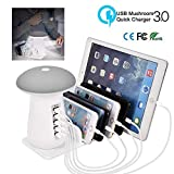 AOLVO USB Charging Station,5-Port USB Multi Device Hub Charging Dock Desktop Charging Stand with Mushroom LED Night Light,Quick Charge Electronic Device Organizer For iPhone Samsung iPad Tablet