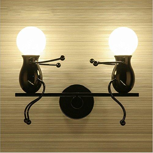 Moderne Wandlampe, Klassische Kreative Kindergarten Cartoon Einstellbare Rocker Schmiedeeisen LED Wandleuchte 2 * E27 MAX 40 Watt,Red -