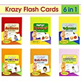 Krazy Combo of Fruits, Action, Community Helpers, Body Parts, Numbers and Vegetables Flash Cards, Small (Multicolour, 133346) - Set of 6