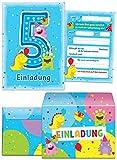 12 Einladungskarten zum 5. Kindergeburtstag blau incl. 12 Briefumschläge / bunte und lustige Einladungen zum Geburtstag für Mädchen Jungen