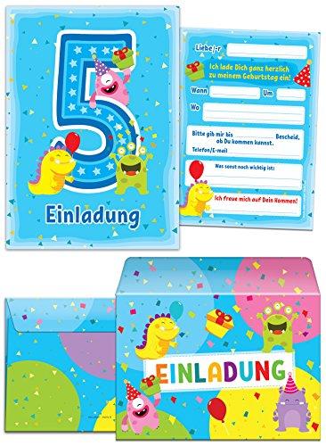 """12 Einladungskarten zum 5. Kindergeburtstag blau incl. 12 Briefumschläge / bunte und lustige Einladungen zum Geburtstag für Mädchen Jungen \""""lustige Monster\"""" (12 Karten + 12 Umschläge)"""