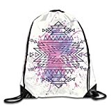 Sporttaschen Turnbeutel, Drawstring Bags Tribal Aztec Pattern Watercolors Blurry Folk Unisex Gym...