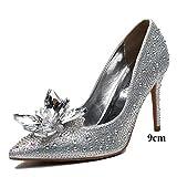 YR-R Damen Hochzeit Schuhe Strass Spitze High Heels Kristall Schuhe Hochzeit Schuhe Brautschuhe Medium Mit Brautjungfern Schuhe,Silver(9cm)-EU:41