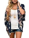 ECOMBOS Damen Florale Kimono Cardigan - Chiffon Tops Cardigan Bluse Shawl Sommer Beachwear Cover up Leichte Boho Strand Jacke (Marine, XL)