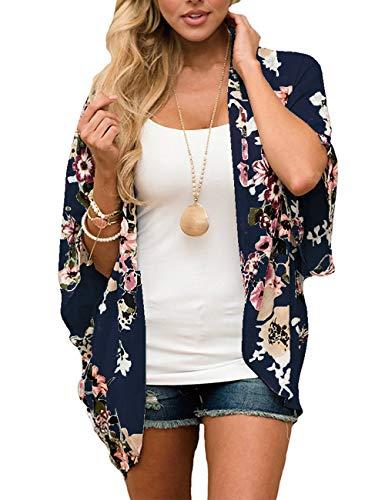 Cardigan Bluse (ECOMBOS Damen Florale Kimono Cardigan - Chiffon Tops Cardigan Bluse Shawl Sommer Beachwear Cover up Leichte Boho Strand Jacke (Marine, L))