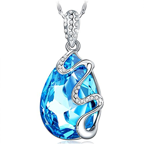 PAULINE & MORGEN Dream Island Necklace for Women White Gold Plated Water Drop Shaped Pendant with Blue Crystals from Swarovski, Comes in Jewellery Gift Box, Nickel-free Passed SGS Test, 45+5cm
