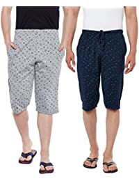 Vimal Jonney Printed Silver And Navy Blue Men's Three Fourths(Pack Of 2)