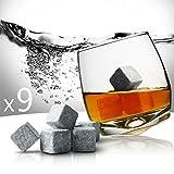 SHOP STORY - Lot de 9 Pierres à Whisky avec Pochette de Rangement - Whisky Rocks - Glaçons en Pierre Grise