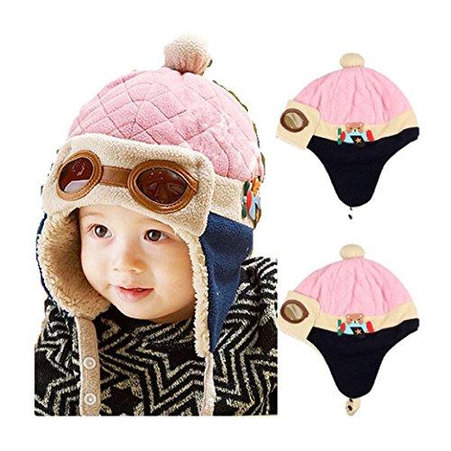 Babybekleidung Hüte & Mützen Longra Jungen Winter warme Mütze Pilot häkeln Earflap Hüte (Für Kinder Pilot Kleid)